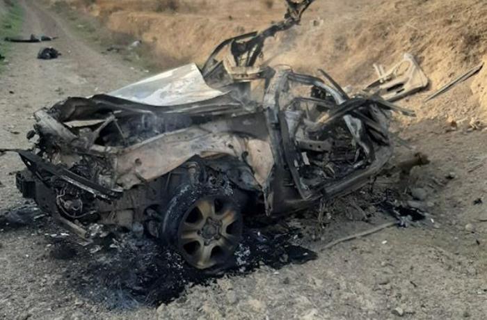 Füzulidə minaya düşən avtomobilin qalıqları — FOTOLAR