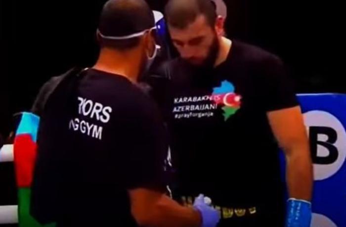 """Peşəkar boksçumuz ABŞ-da rinqə """"Karabakh is Azerbaijan"""" forması ilə çıxıb — VİDEO"""