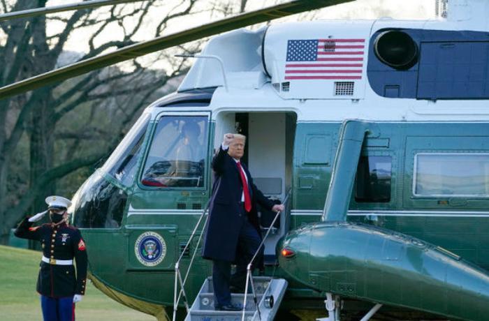 Donald Tramp Ağ evi tərk etdi — VİDEO