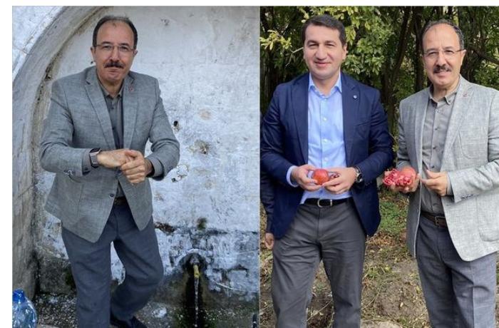 Türkiyə səfiri Suqovuşanda nar topladı — FOTOLAR