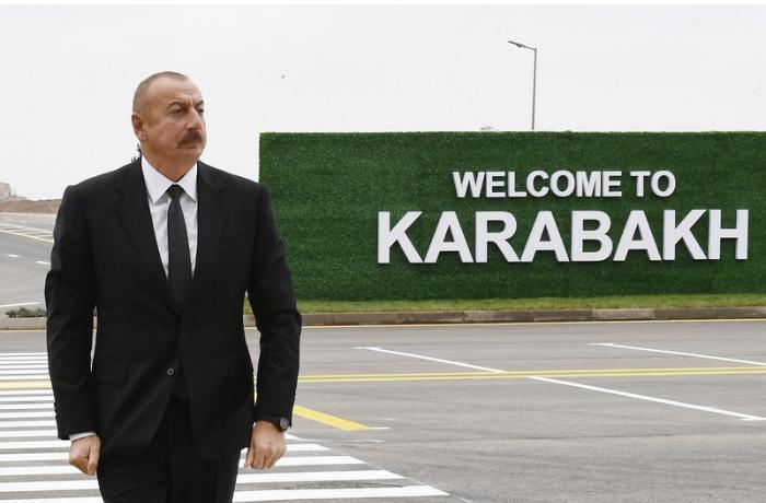 İlham Əliyev və Mehriban Əliyeva Füzuli Beynəlxalq Hava Limanında — FOTOLAR