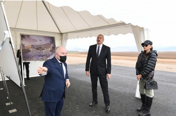 İlham Əliyev Zəngilan Beynəlxalq Hava Limanının tikintisi ilə tanış oldu