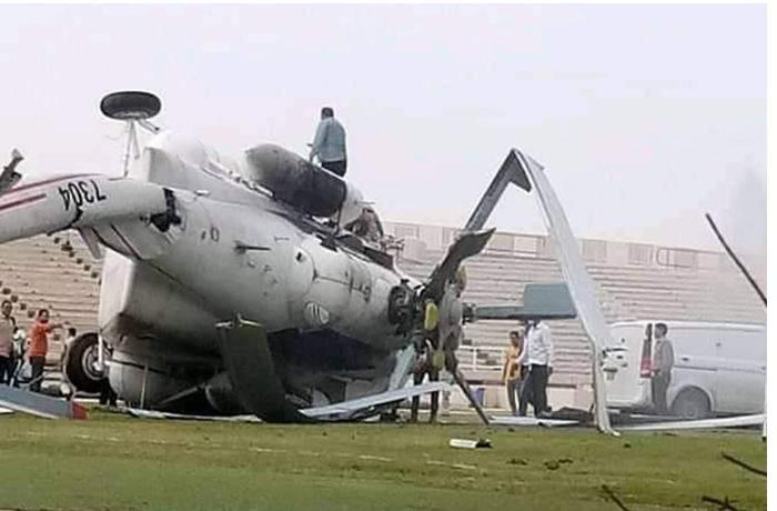 İçi pulla dolu helikopter qəzaya uğradı — FOTO