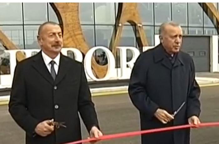Azərbaycan və Türkiyə prezidentləri Füzuli Beynəlxalq Hava Limanının açılışında iştirak etdilər