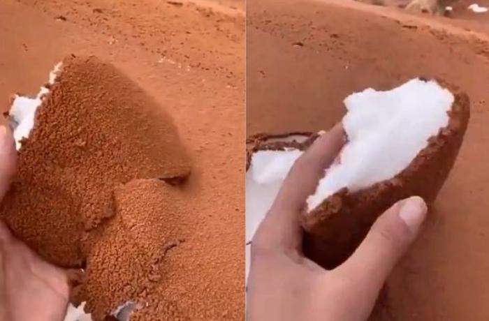 """Səudiyyə Ərəbistanı səhraları nəhəng """"eskimo dondurmasına"""" çevrildi — VİDEO"""