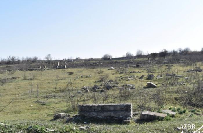 Ermənilər Merdinli kəndindəki qəbiristanlığı dağıdıblar — FOTOLAR