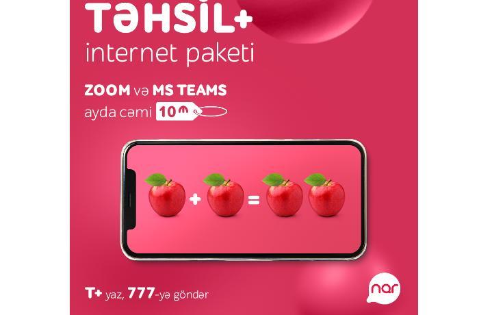 """Onlayn təhsil """"Nar""""ın """"TƏHSİL+"""" internet paketi ilə daha rahatdır!"""
