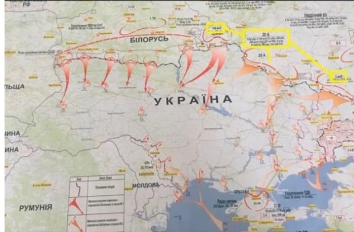 Rusiyanın Ukraynaya hücum xəritəsi yayıldı