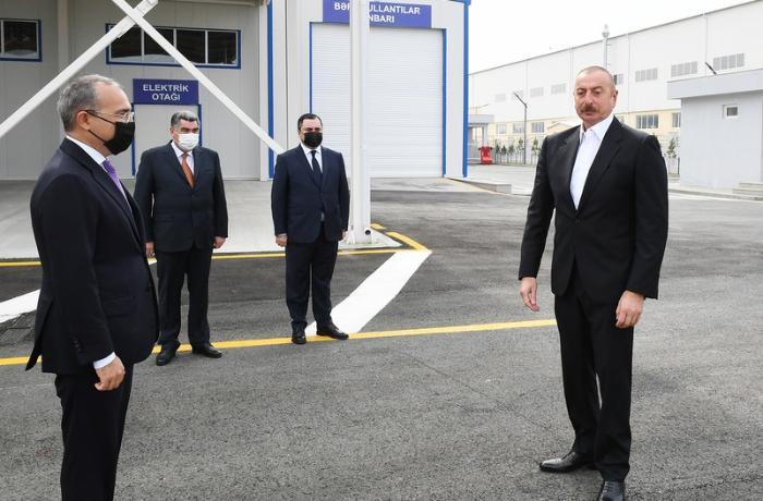 Prezident Hacıqabul Sənaye Məhəlləsinin açılışında iştirak etdi — FOTOLAR