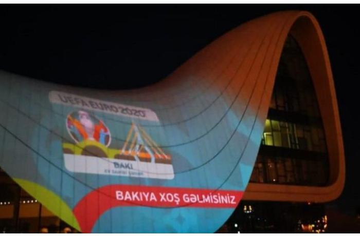 Heydər Əliyev Mərkəzi üzərində AVRO-2020 iştirakçılarının görüntüləri — FOTO