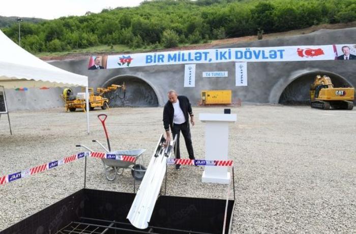 Prezident Daşaltı kəndində tunelin təməlini qoydu — YENİLƏNİB