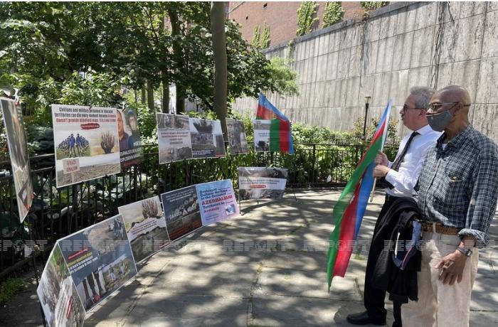 BMT önündə Ermənistanın minaların xəritəsini verməməsinə etiraz olaraq sərgi keçirildi
