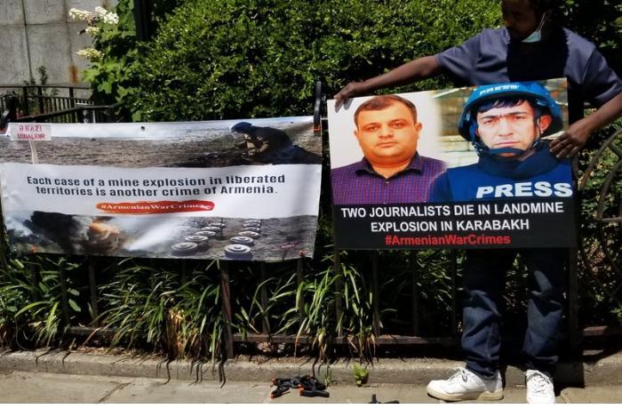 BMT-nin qarşısında azərbaycanlı jurnalistlər yad edildi — FOTOLAR
