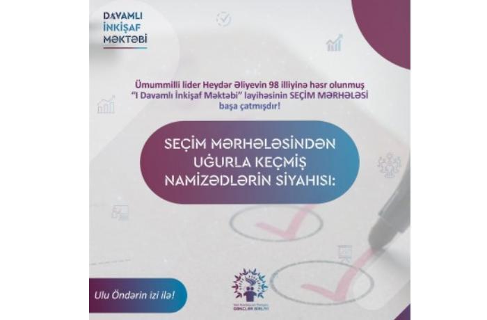 """""""Davamlı İnkişaf Məktəbi"""" layihəsinin müsahibə mərhələsi başa çatdı"""
