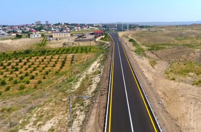 Prezident Goranboyda avtomobil yolunun açılışında iştirak etdi — FOTOLAR
