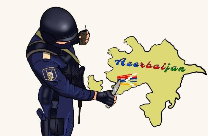 Azərbaycan polisinin qondarma bayrağı süngü bıçaqla silməsi karikaturada — FOTO